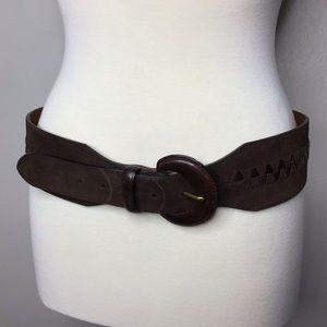 """Ralph Lauren Brown Suede Leather Belt 2.75"""" Wide L"""